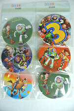 6 X Mixed Design Toys Story Safety Pin Badge School Bags Clothing Party Gift