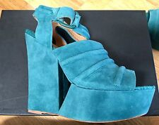 L.A.M.B. Gwen Stefani ADORABLE Teal SUEDE Cutout WEDGE platform shoe 9 $169.00