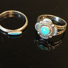 2 Vintage Native American Sterling Silver Turquoise Rings Small Size 4.25 and 5