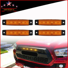 "4X Amber 3.8""Front Bumper Hood Mesh Grill Grille LED Lights"