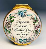 "Halcyon Days English Enamels ""Happiness on Your Wedding Day"" Trinket Box"