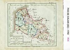 Dépt 62 - Carte du Pas de Calais Superbe Gravure Cuivre Aquarellée de 1792