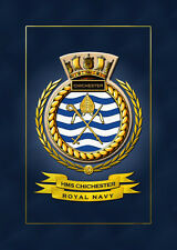 HMS CHICHESTER SHIPS BADGE/CREST - HUNDREDS OF HM SHIPS IN STOCK