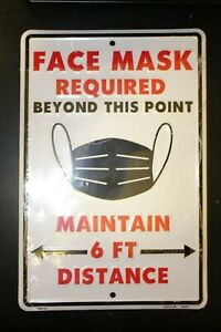 Face Mask Required 6' Social Distance Aluminum Metal Warning/Notice Sign Outdoor