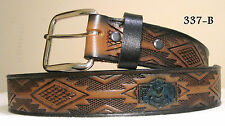 New Cowhide Leather Belt Navajo Theme (Style 337B) Custom Sizing 26 thru 48