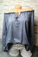 Italy Carmen Shirt Vintage 36 38 40 42 blau washed blogger Tunika Bluse Ibiza