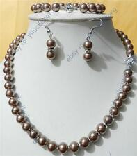 new 8mm Silver Champagne South Sea Shell Pearl Necklace & Bracelets Earring Set