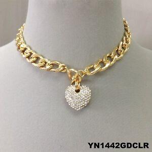 Clear Rhinestone Heart Pendant Gold Cuban Chain Choker Style Toggle Necklace