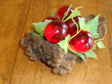 VINTAGE ACRYLIC LUCITE GRAPES ON FAUX DRIFTWOOD MCM