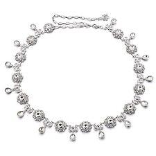 femmes fille strass ceinture Diamant chaîne TAILLE MARIAGE NOCES ARGENT 806