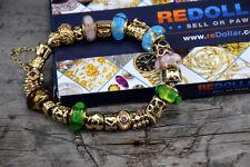 14 KARAT GOLD PANDORA BRACELET WITH 26 SOLID GOLD CHARMS DIAMONDS STUNNING