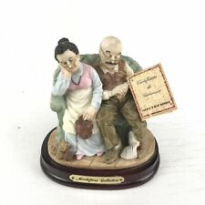 MONTEFIORI COLLECTION Old Couple and cat resting in the sofa Ceramic 7'' Figure