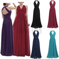 Women's V-neck Wedding Bridesmaid Ball Prom Gown Evening Party Formal Long Dress