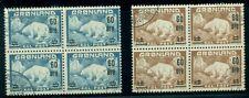 Greenland #39-40 (37-8) Polar Bear ovpt set, used, Blocks of 4, Vf, Scott $52.00