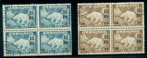 GREENLAND #39-40 (37-8) Polar Bear ovpt set, used, Blocks of 4, VF, Scott $42.40