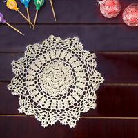 4x Vintage Cotton Hand Crochet Lace Doily Doilies Table Mats Round Placemat 40cm