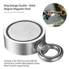 Round Silver Double Sided Super Strong Fishing Magnet 600LB Pulling Force D48-3