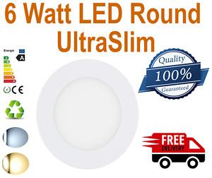6 Watt LED Round UltraSlim Ceiling Panel 10mm Recessed Panel Light Downlight
