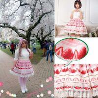 Pink Strawberry Lace Polyester Sweet Lolita fashion elastic mini Skirts dresses