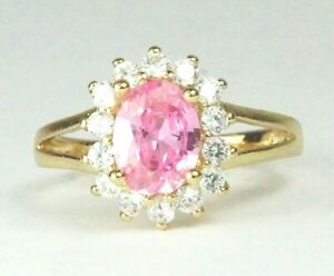 Women's Gold plated Pink Crystal Ring UK Size P