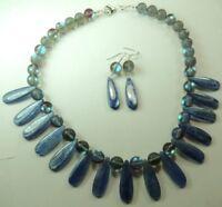 Statement Kyanite Teardrop & Moonstone Glass Crystal Aura  Necklace & Earrings
