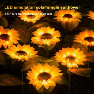 2/4PCS Solar Powered Sunflower Garden Light Waterproof Yard Path Lawn Lamp