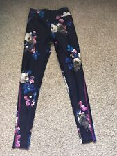 Joules Active Wear Leggings Navy With Floral Print Size Small