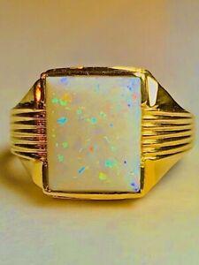 Antique Art Deco Mens Natural Australian Opal Vintage 10K Yellow Gold Ring