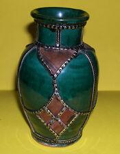 Art Pottery - White Metal Beading On Deep Glaze Stoneware Vase - Unusual Design.