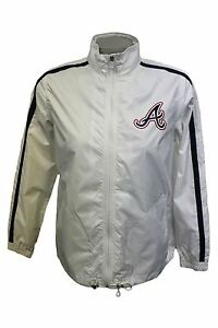 Atlanta Braves Women M Full-Zip White Track Jacket Windbreaker MLB
