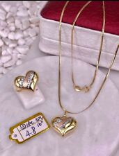 GoldNMore: 18K Gold Jewelry Set Necklace and Pendant Ring 4.8G 16 inches