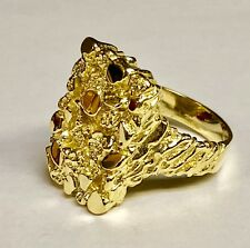 10k Yellow Gold Nugget Design Fashion Men's Ring  18 grams  25 MM