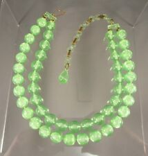 Vintage 2 Strand Plastic Green Beaded Choker Necklace #661