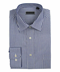Peter England Easy Care Blue Bengal Stripe Cotton Rich Formal Business Shirt