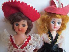 Lot of 2 Vintage Dolls Hard Plastic Sleep Eyes 7.5 Inches Tall
