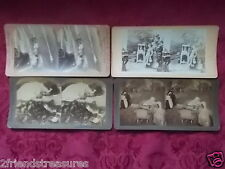 Antique Stereoscope View Finder Photos Set of 4 Children and Animals 3x7 1899