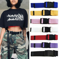 Women's Casual Canvas Belt Waist Belts With Plastic Buckle Solid Long Wide Belts