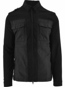 MA.STRUM Mens Zip Through Overshirt in Black Cotton with Pockets