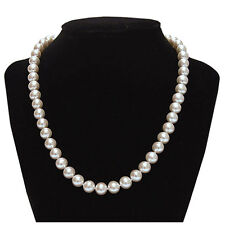14K Solid White Gold 8-9 mm Nature Freshwater Pearl Necklace June Birthstone