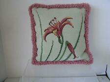 """Needlepoint Custom Finished Hybiscus Floral Complete Designer Pillow Ooak 12"""""""