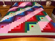 Over King size log Cabin patchwork quilt J-30