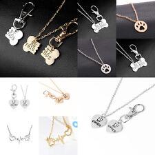 Necklace Jewelry Keyring Keychain Heartbeat Pet Dog Paw Heart Pendant Bone BFF