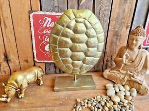 Edle Skulptur Panzer Schildkröte 40 cm Metall Turtle Reptilien Gold Deko Tisch