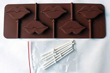 Lips 5 cavity Lollipop Silicone Mold for chocolate, gum paste, fondant, crafts