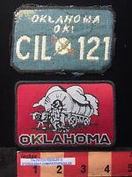 OKLAHOMA SOONER PATCH - Covered Wagon + Patch-ish Fabric OK License Plate 5DB2
