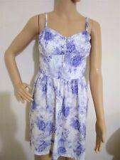 Miss Selfridge Sz 10 MINI Festival Strappy Floral 100% Cotton DRESS Blue & White