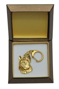 French Bulldog 2 - gold plated keyring with image of a dog, in box, Art Dog USA