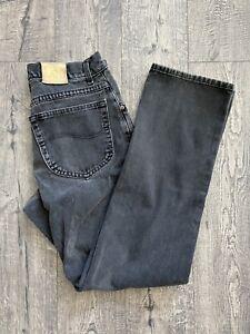Vintage 1980s/1990s Lee Black Jeans Size 30x29 Rider Denim Distressed 505 550
