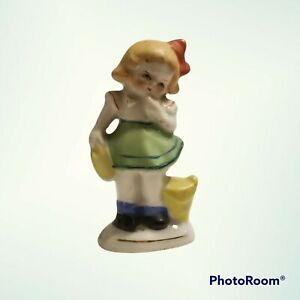 """Girl in Green Dress Porcelain Figurine 3.5"""" Tall Vintage Made in Occupied Japan"""