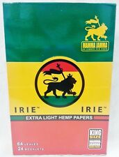 Full Box 24 Packs King Size Irie Extra Light Hemp Cigarette Rolling Papers